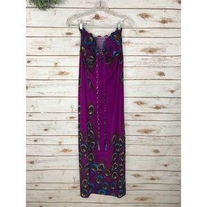 Dresses & Skirts - PURPLE PEACOCK HALTER DRESS SIZE S/M
